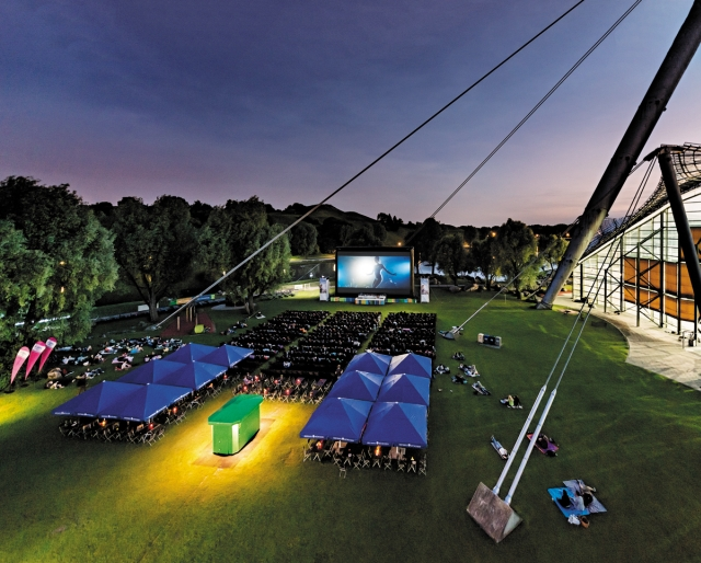 Open Air Cinema in Munich. Photo by Kino am Olympiasee.