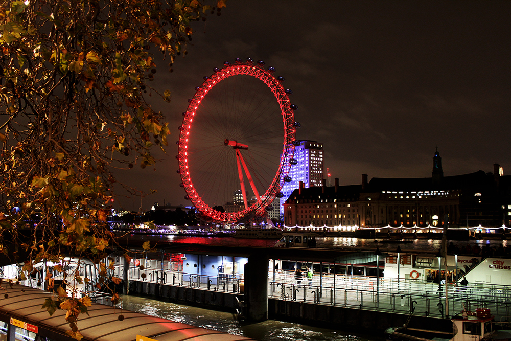 The London Eye at night, London
