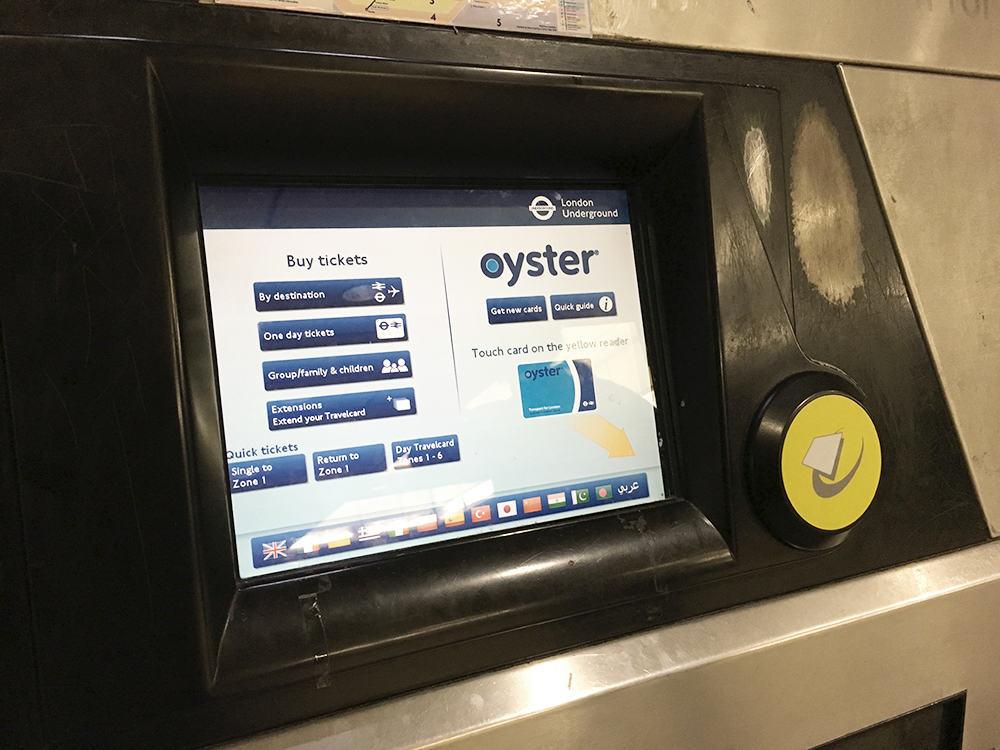 Oyster Card machine, London