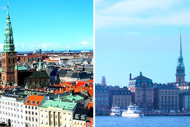 Copenhagen and Stockholm