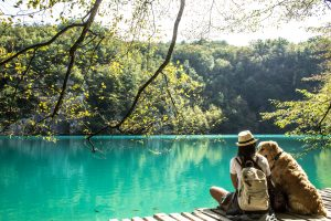 Plitvice Lakes with dog